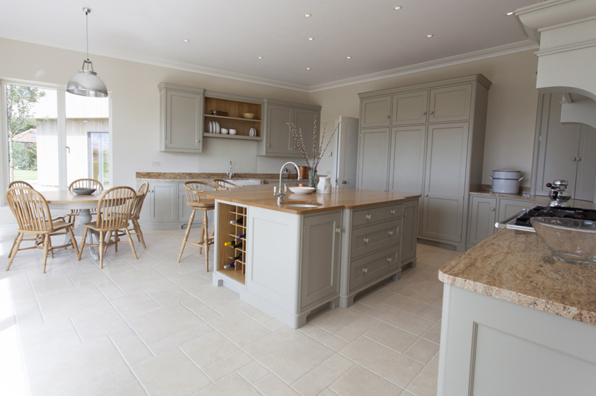 Wicken Grove style kitchen, with a mix of oak and Kashmir Gold counter tops